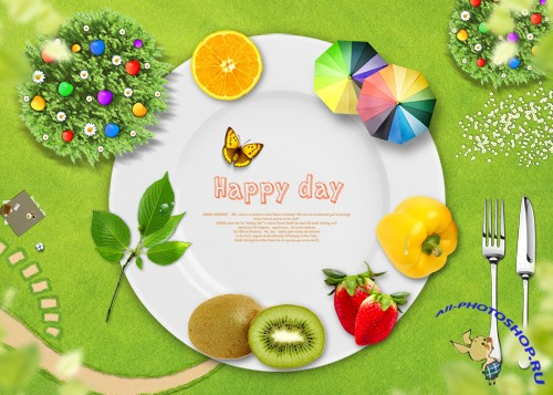 PSD source - Plate - Happy Day