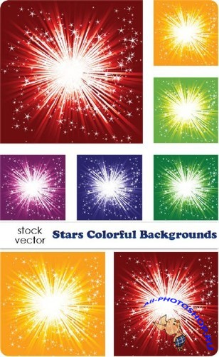 Vectors - Stars Colorful Backgrounds
