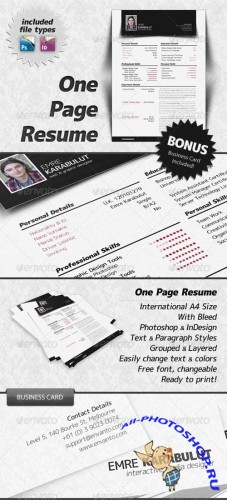 GraphicRiver - Minimalist One Page Resume (CV)