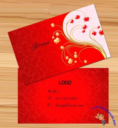 PSD Business Card Template - Big Red Wedding