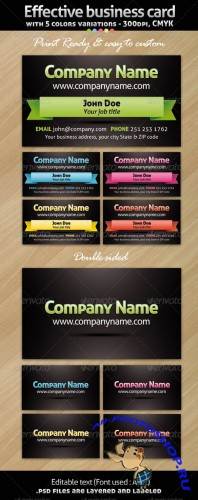 GraphicRiver - Effective business card with 5 variations