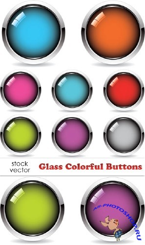 Vectors - Glass Colorful Buttons