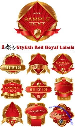 Stylish Red Royal Labels Vector