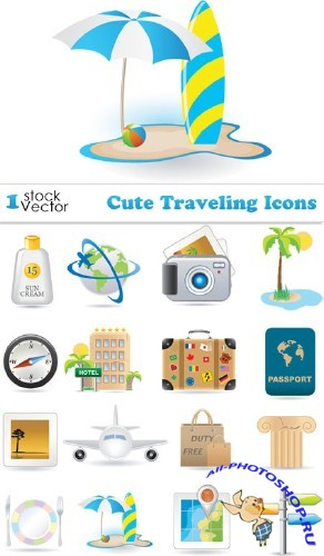 Cute Traveling Icons Vector