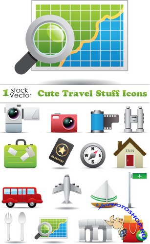 Cute Travel Stuff Icons Vector