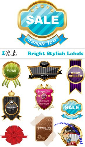 Bright Stylish Labels Vector