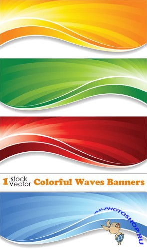 Colorful Waves Banners Vector