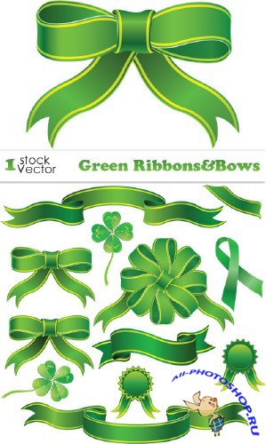 Green Ribbons&Bows Vector