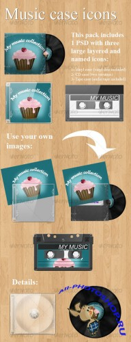 GraphicRiver - Realistic music case graphics (Vinyl + CD + tape)