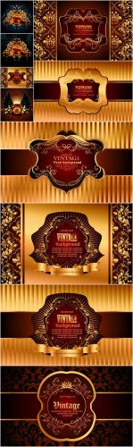 Ornate Vector Backgrounds - Patterns, ornaments, gold background, vector