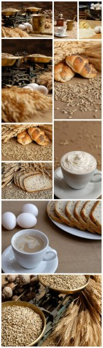 Bread Backgrounds - Bread, cereals, ears, eggs, butter, coffee grinder, scales, kitchen