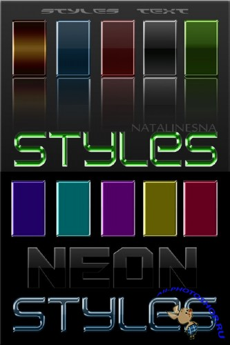 ����� ��������� � ����� �����  / Text styles - Shine of a neon