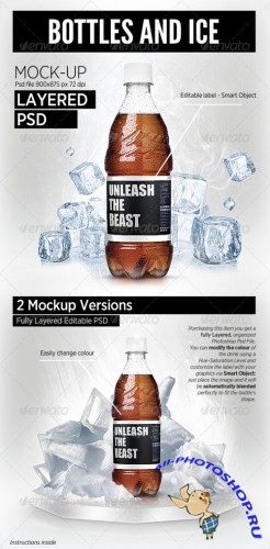 GraphicRiver - Bottles and Ice cool Mock-Up brand showcase