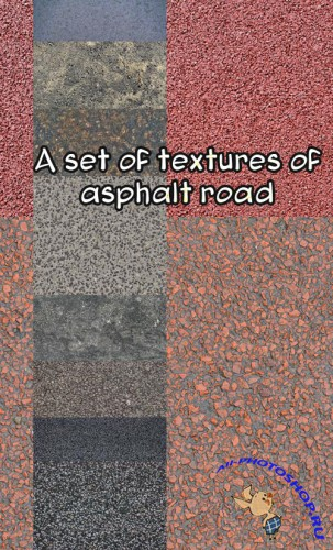 A set of textures of asphalt road