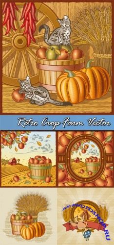 Retro Crop Farm Vector