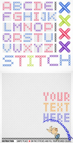 Cross Stitches Template Vector