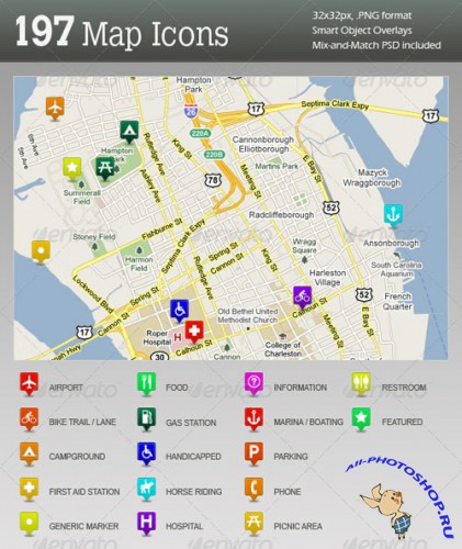 GraphicRiver - 197 Ultimate GPS / Travel Map Location Icons
