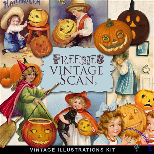 Scrap-kit - Vintage Halloween Illustrations