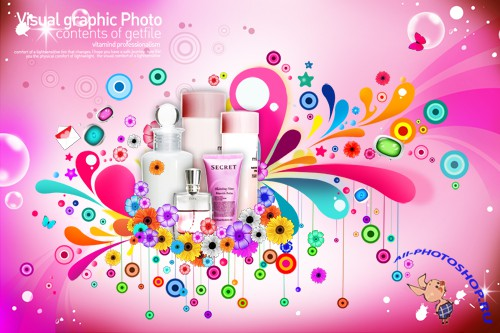 PSD Source - Colorful Fashion Cosmetics Poster