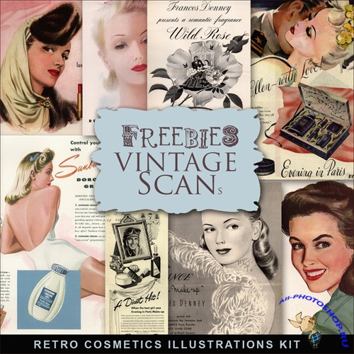 Scrap-kit - Retro Style Cosmetics Illustrations #2