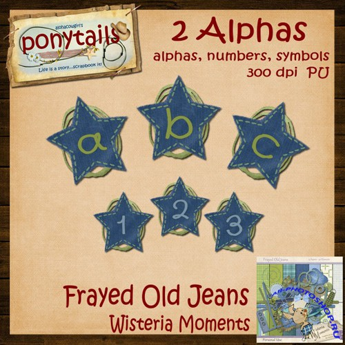 Scrap-kit - Frayed Old Jeans - Alphabet