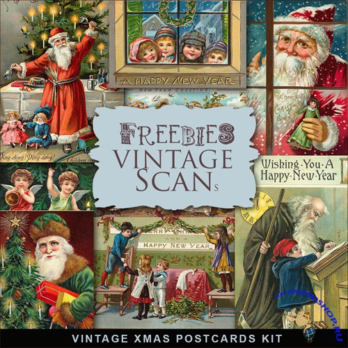 Scrap-kit - Vintage X-mas Postcards #3