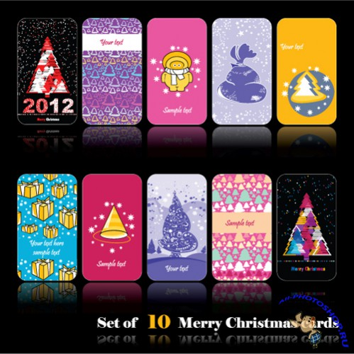 Vector Business Cards - Set Of 10 Merry Christmas