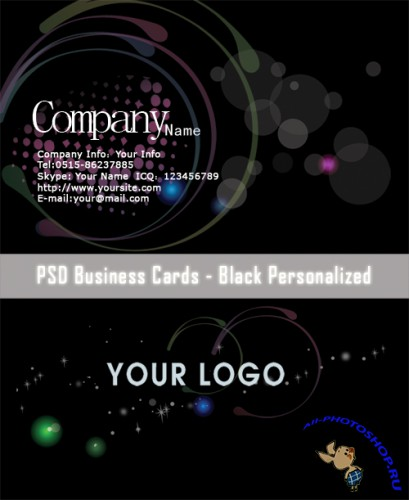 PSD Business Cards - Black Personalized