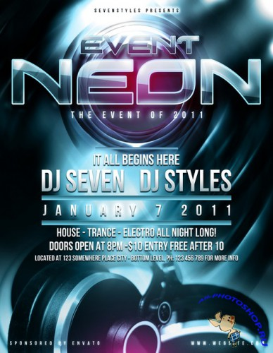 Event Neon Poster Flyer Template