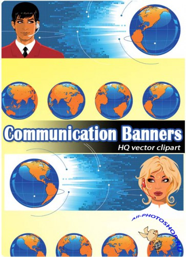 Телефонизация и связь | Communication (Vector Banners)