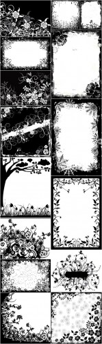 Rastr Cliparts - Black and white flowers backgrounds