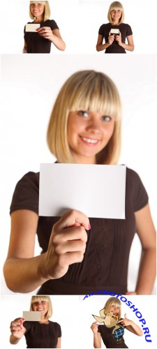 Photo Cliparts - Girl with sheet paper