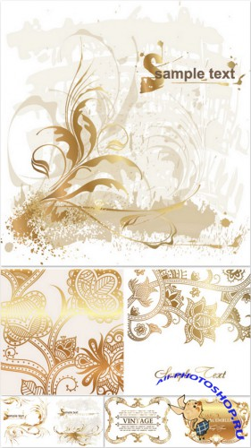 Light Vector Backgrounds - Gold ornaments, vector, white background