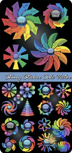 Shiny Sticker Sale Vector