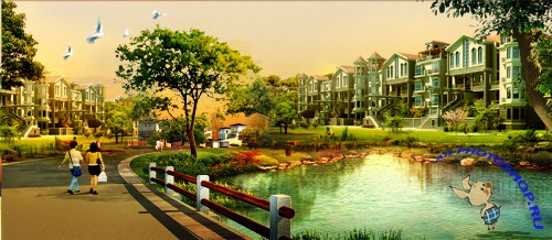 Beautiful Lake Gardens real estate ads PSD layered material