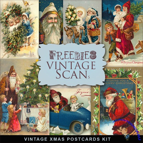 Scrap-kit - Vintage X-mas Postcards #4