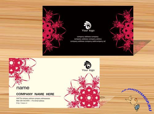 Classic Black & White Business Card Template With Snowflakes