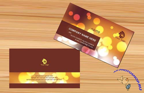 Brown color business card templates - simple elegant