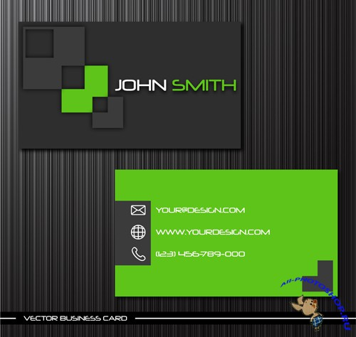 Creative Vector Green Personalized Business Card Template - 1