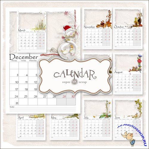 Scrap-kit - Calendar-Frames 2012 Year (PNG, PSD)