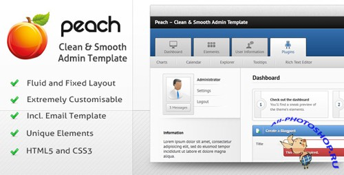 ThemeForest - Peach – Clean & Smooth Admin Template - Rip