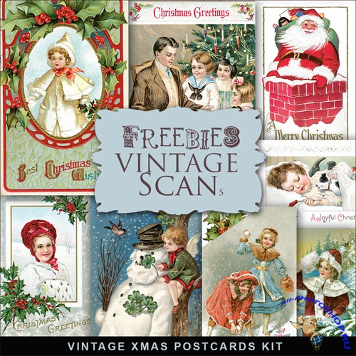 Scrap-kit - Vintage X-mas Postcards #9