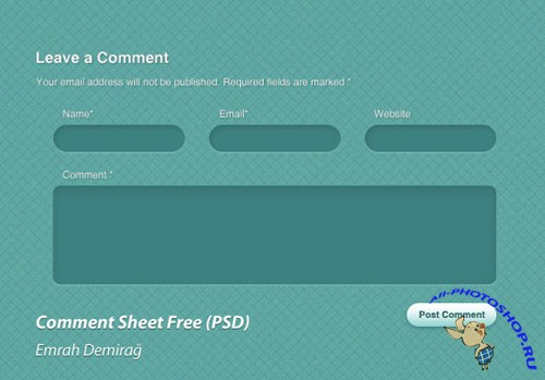 Green Comment Sheet Free PSD Template