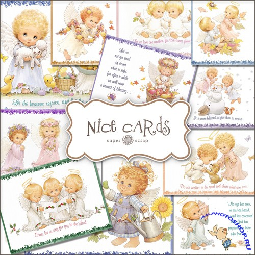 Scrap-kit - Vintage Cards With Baby Angels