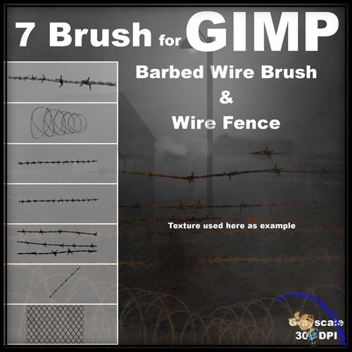 Barbed Wire and Metal Fence GIMP Brushes