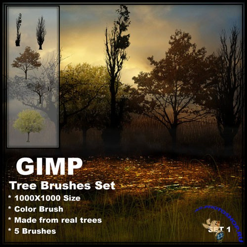 Tree Brushes for GIMP set 1