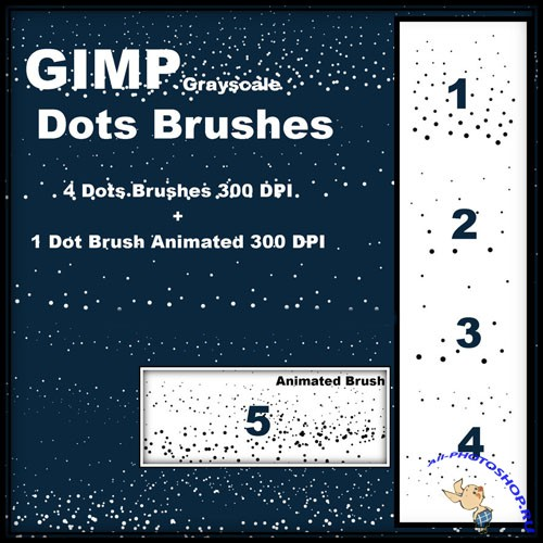 GIMP Dot Brushes Set