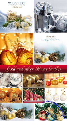 Stock Photo: Gold and silver Xmas baubles