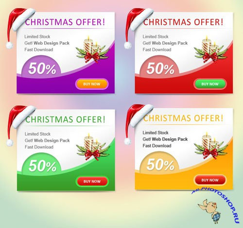 Christmas Web Banner Set PSD Template