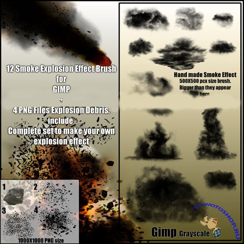 12 Smoke Explosion Effect Brushes for GIMP